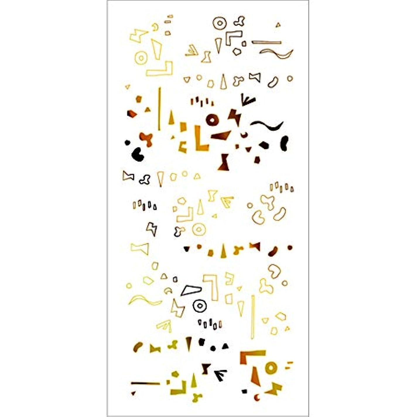 メナジェリーいたずら楽観的ツメキラ(TSUMEKIRA) ネイル用シール カタチの群れ ゴールド SG-HOK-102