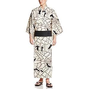 (マニフィーク)MAGNIFIQUE(マニフィーク) メンズ国産浴衣3点セット(浴衣、帯、下駄) 蝙蝠 MNF-0002 ホワイト×ブラック XL