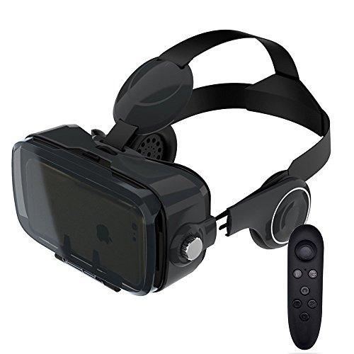 Tcbry VRゴーグル ヘッドホン vrメガネ 3Dスマトゴーグル iPhone/Galaxy/Xperiaなど対応 焦点距離調節 リモコン付属 (ブラック)