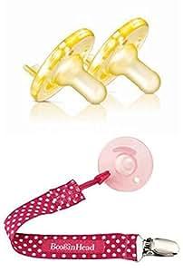 フィリップス Avent Soothie Pacifier おしゃぶり 0-3ヶ月用(イエロー)2個パック+ホルダー(ピンク)セット [並行輸入品]