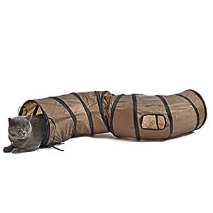PAWZ Road 猫 トンネル キャットトンネル おもちゃ 長い 折りたたみ S型 2穴付き 直径25CM 茶色