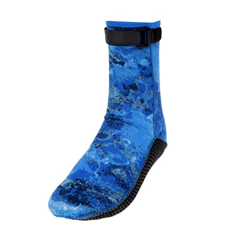 perfk ネオプレン 滑り止め ダイビングブーツ スピアフィッシング ソックス ブーツ 約3mm 全2色5サイズ - カモフラージュブルー, L(42-44)