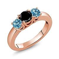 Gem Stone King 1.21カラット 天然ブラックダイヤモンド 天然 スイスブルートパーズ シルバー925 ピンクゴールドコーティング 指輪 リング