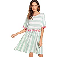 Floerns Women's Short Sleeve Tunics Fringe Trim Striped Dress