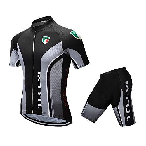 TELEYI サイクルジャージ 半袖 上下セット サイクルジャケット 男性用 高弾性 3Dパッド 吸汗速乾 通気 スポーツウェア 安全反射素材 二色 M-XL (グレー, L)