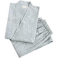 Japanese Style Men Thin Cotton Bathrobe Pajamas Kimono Home Costume Suit#002