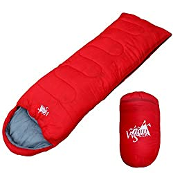WhiteSeek 寝袋 シュラフ 封筒型 【最低使用温度7℃ 1000g】 (レッド)