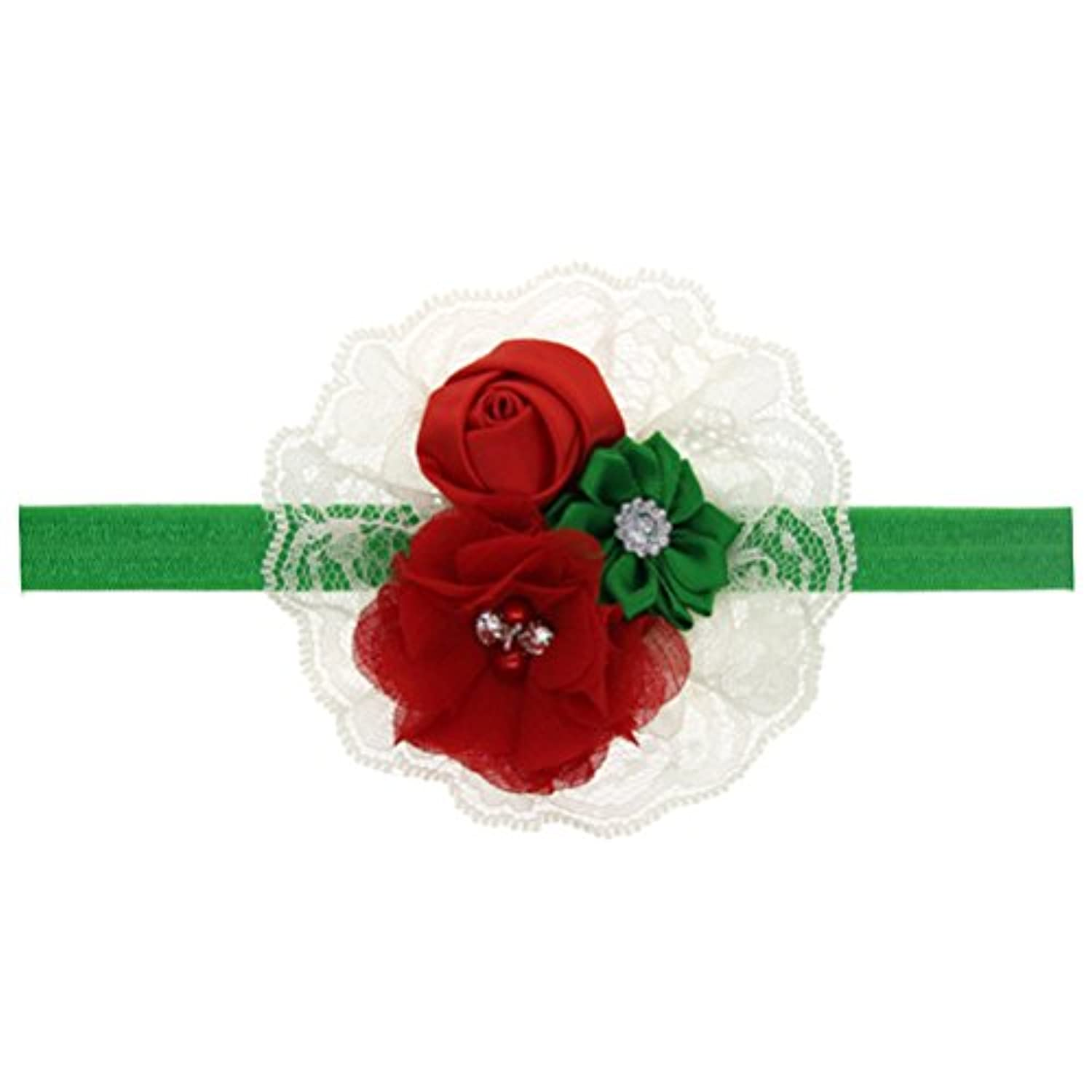 Zhhlaixing ベビー小物 Kids Baby Girls Soft Elastic Flowers Headband Hairband Hair Accessories for Christmas 5132