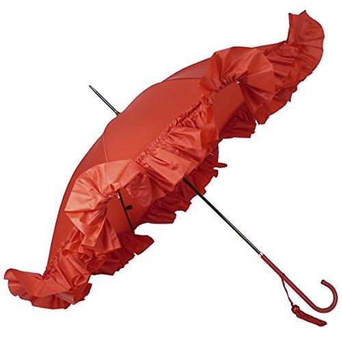 (フォックスアンブレラズ) FOX UMBRELLAS レディース 高級長傘 レッド WL9 SLIM LEATHER CROOK HANDLE DEEP FRILL EDGE RED [並行輸入品]