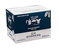 Crystalware Plastic Sip Stirrers 13cm 1000/box, Black (10 Boxes)