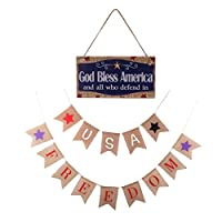 ガーランド バナー USA Freedom アメリカ  独立日木製看板 装飾 3タイプ選択可 - #1