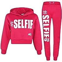 Kids Girls Tracksuit Designer #Selfie Jogging Suit Hooded Crop Top & Bottom 5-13
