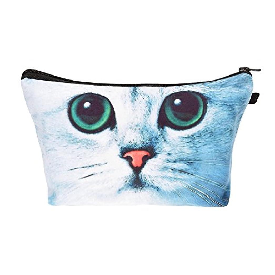 化粧バッグ 化粧ポーチ 収納ケース メイクバッグ 化粧収納バッグ 折畳式 携帯型便利 容量大きいかわいいお洒落 旅行軽量 猫柄 (ブルー)