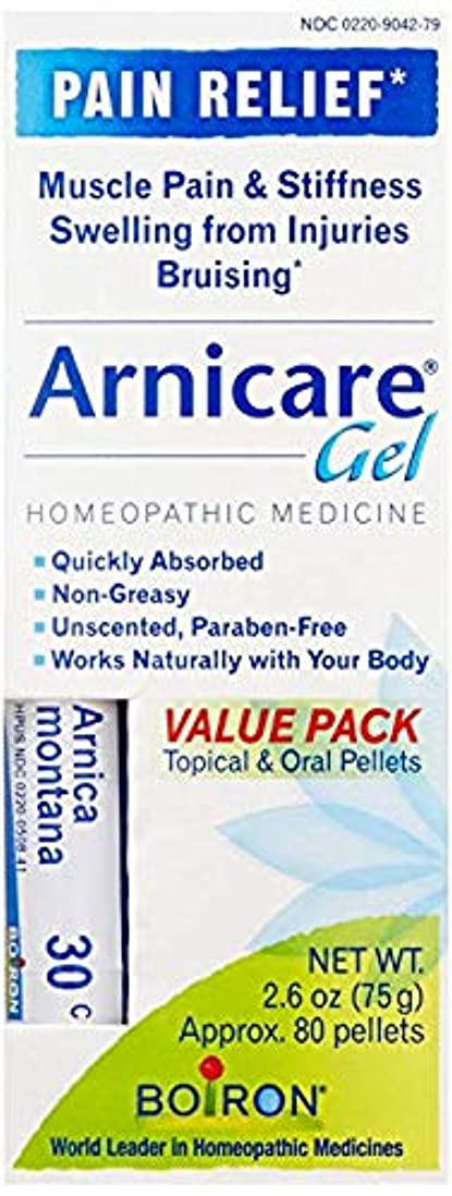 数いつもガジュマルBoiron Arnicare Gel Value Pack, 2.6 Ounce Gel + 80 Pellet Tube, Homeopathic Medicine for Pain Relief [並行輸入品]