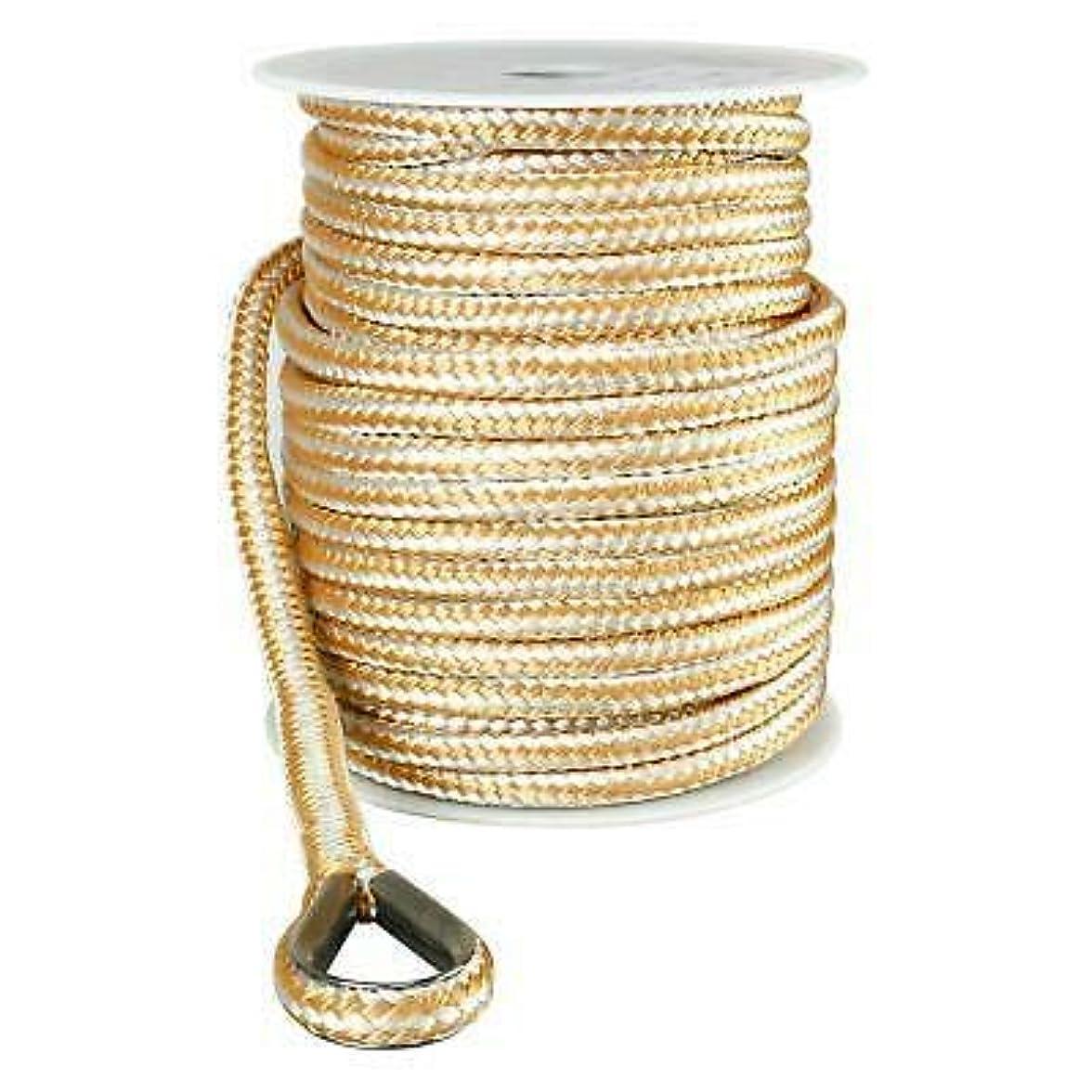 テント骨折データUS Ropes ナイロンダブル編みアンカーライン 3/8インチ x 100フィート ゴールドとホワイト