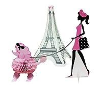 Creative Converting 265584 3 Piece Party in Paris Centerpiece Set, Pink/Black by Creative Converting