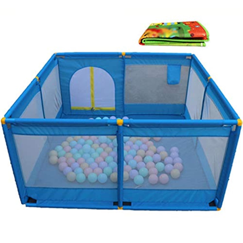ボールとマット、女の子と大きなポータブルベビー子供の遊び場ベビーハウスプレイヤー屋内アウトドア用保護フェンス、8パネル (色 : 青)