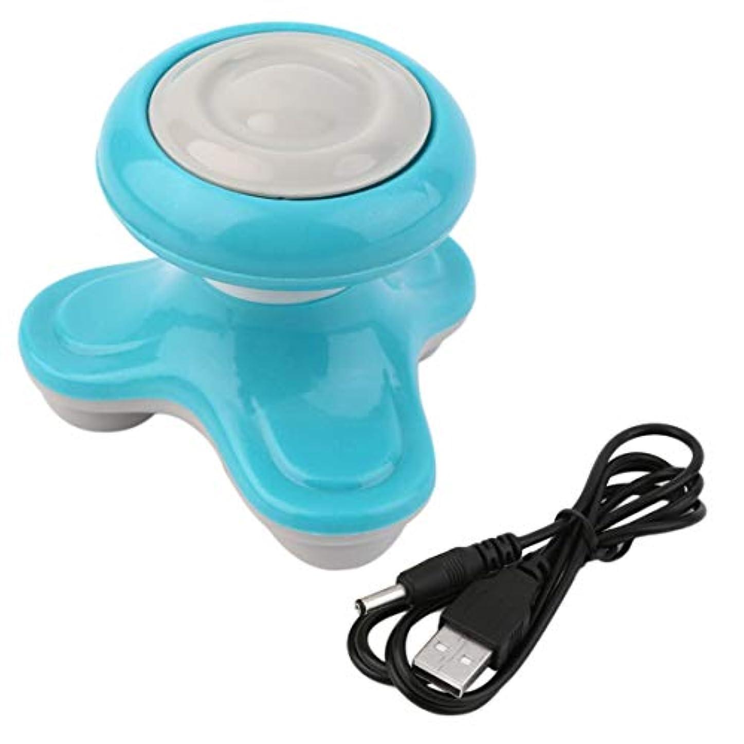 許す投獄虚弱ミニ電動ハンドル波振動マッサージ器USBバッテリーフルボディマッサージ持ち運びに便利な超小型軽量-ブルー