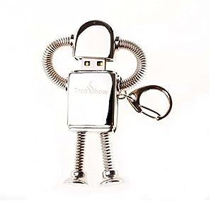 オモシロUSBメモリ ロボット シルバー キーホルダー 16GB