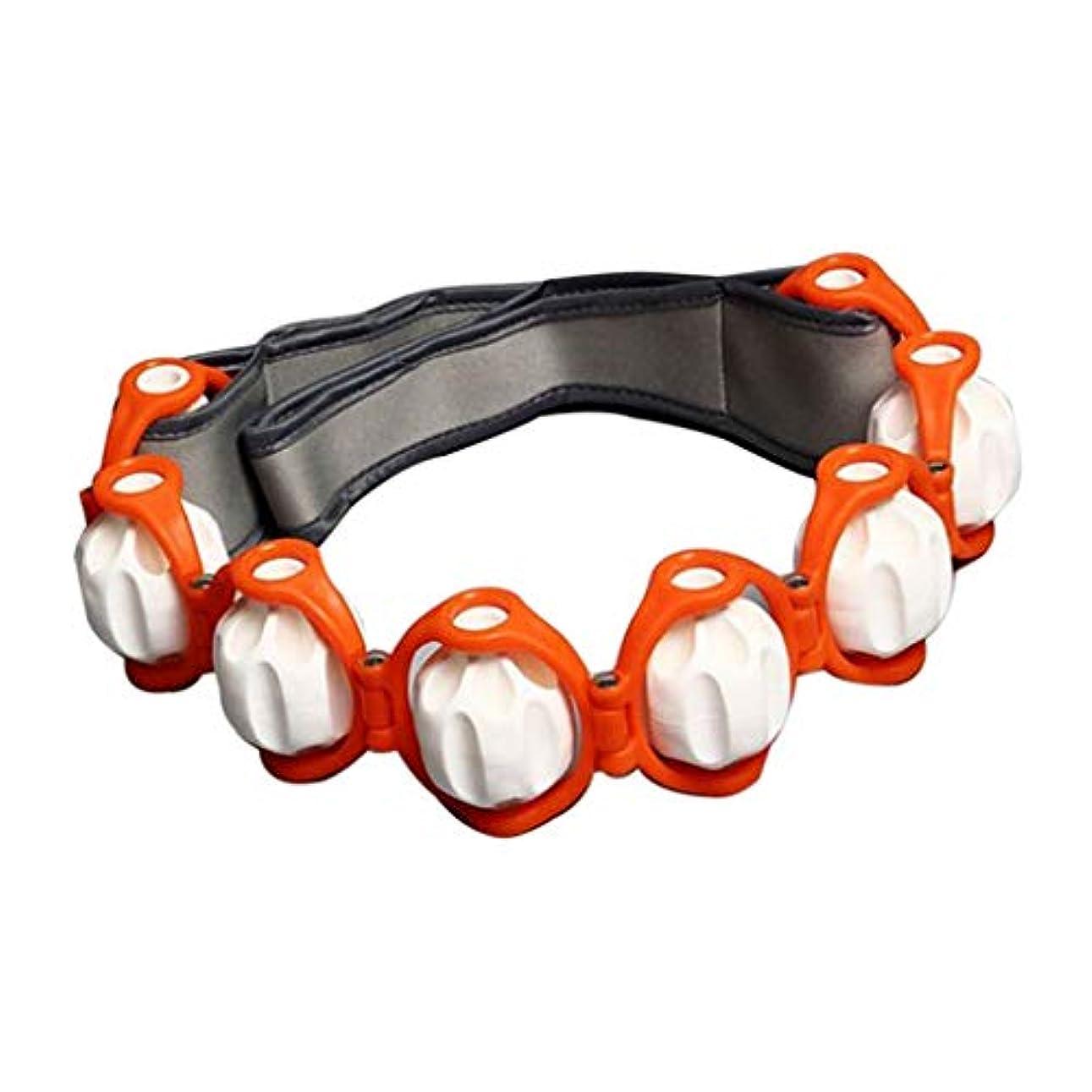 プロペラ美的溝マッサージローラー ロープ付き ツボ押し ボディマッサージ 筋肉マッサージ 4色選べ - オレンジ