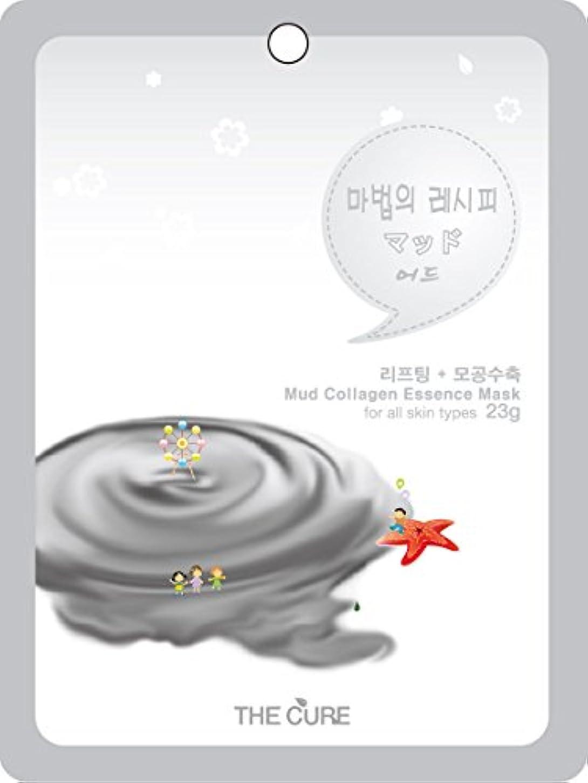 右スタイル壁紙マッド コラーゲン エッセンス マスク THE CURE シート パック 100枚セット 韓国 コスメ 乾燥肌 オイリー肌 混合肌