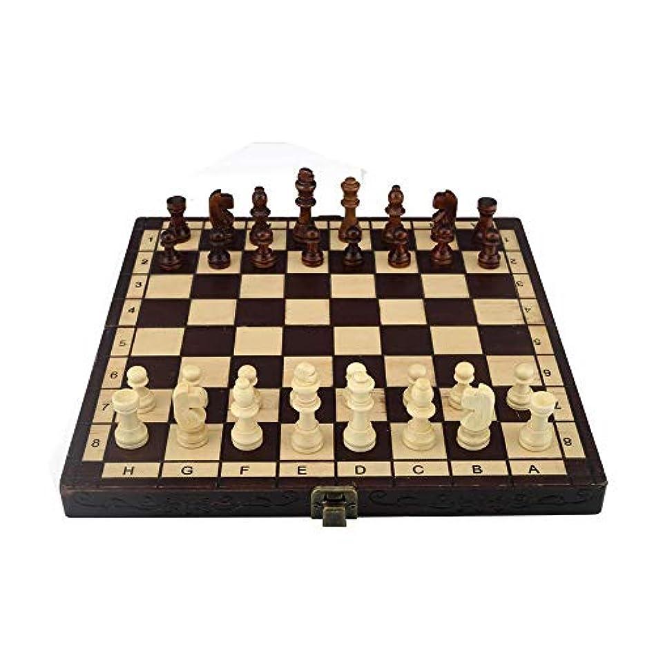 プレゼンバットフィールドチェスセット磁気木製の標準的なチェスゲームボードセット木製の細工された部分とチェスの収納スロット (色 : As picture, サイズ : 25*25*2cm)