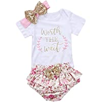 "gllive Baby Girls' 3Pcs ""Worth The Wait"" Print Outfit Clothes Romper Bodysuit Pants Headband Set"