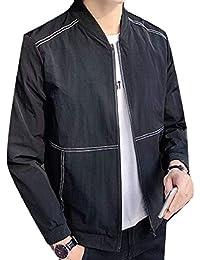 maweisong メンズスリムソリッド軽量ソフトシェルフライトボンバージャケットコート