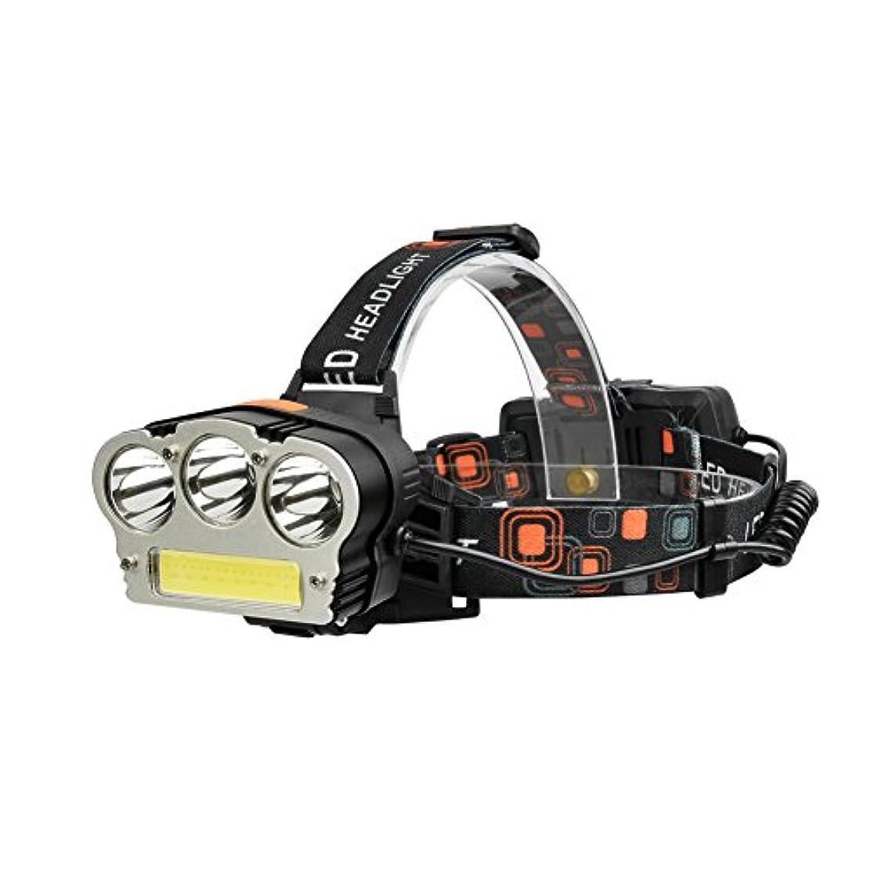 敵対的黒くするヒットRaiFu ヘッドライト USB充電式 T6 +COB 強力 ライト 釣り キャンプランプ 屋外の活動(ホワイトとレッドの光)