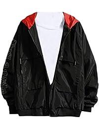 Fly Year-JP メンズファッション長袖レタープリントウィンドブレーカーフーディジャケットアウトウェア