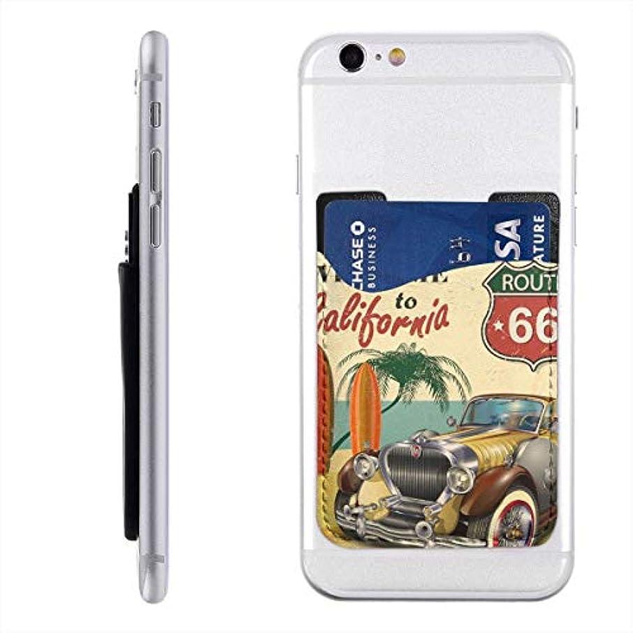 インシュレータ硬さ独創的ビンテージアメリカンカー スマホ カードケース 背面カードホルダー 背面ポケット ステッカーポケット 貼り付け 定期券 ICカード入れ IPhone Android 全機種対応
