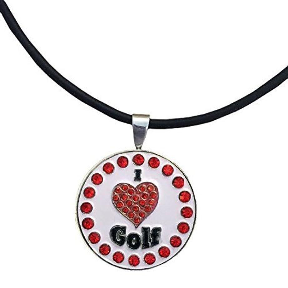 大きなスケールで見ると睡眠不当GiggleゴルフBling I Love Golfレッド磁気ボールマーカーネックレス
