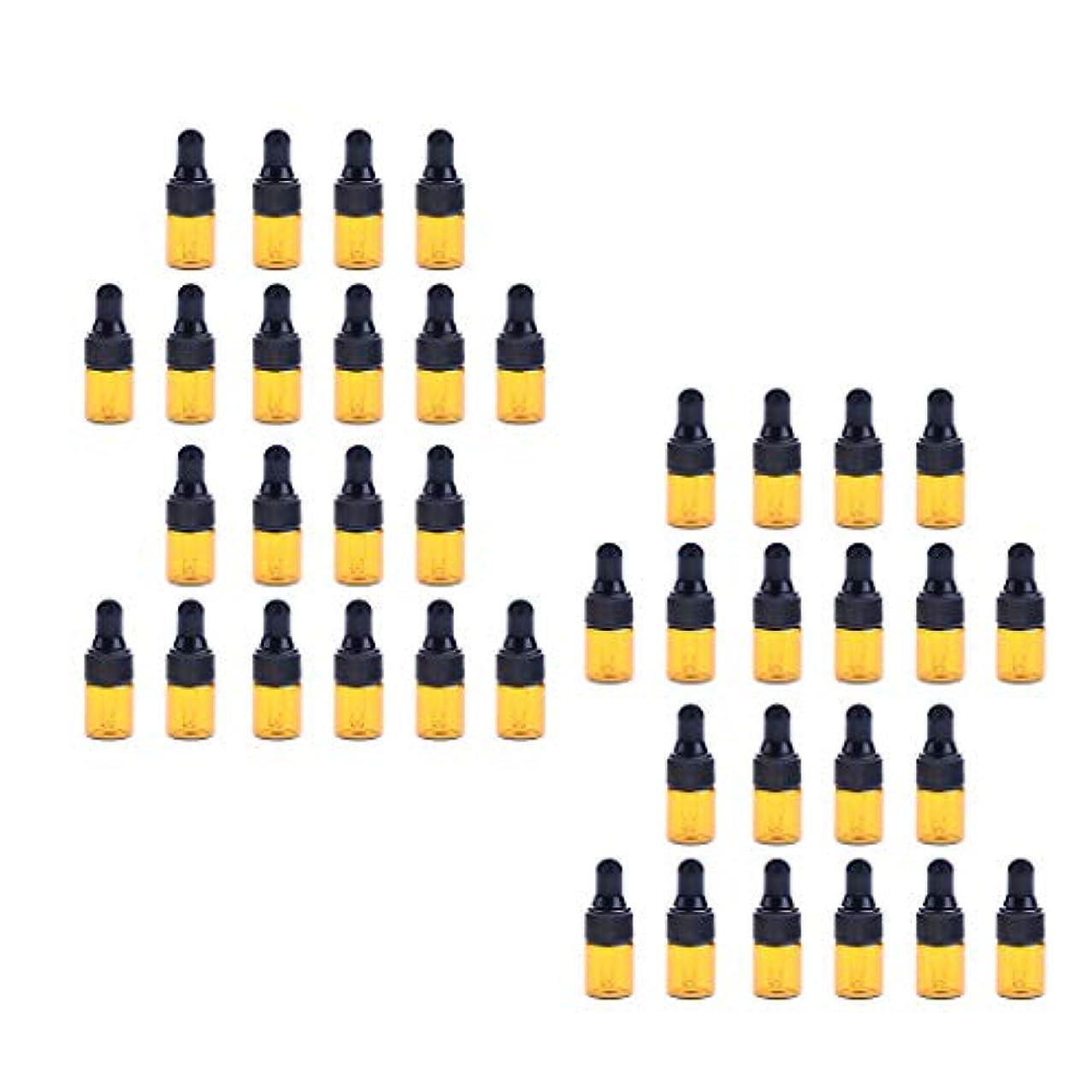 フック放散する有毒な40個入 ドロッパーボトル ガラス瓶 エッセンシャルオイル 精油 保存容器 詰め替え 小型 1ml /2ml