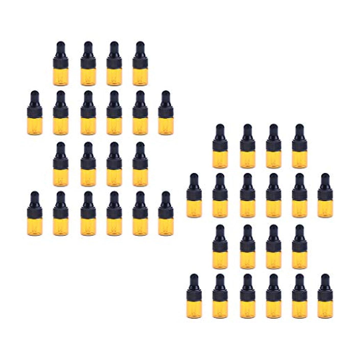 要塞専門なぞらえるchiwanji 40個入 ドロッパーボトル ガラス瓶 エッセンシャルオイル 精油 保存容器 詰め替え 小型 1ml /2ml