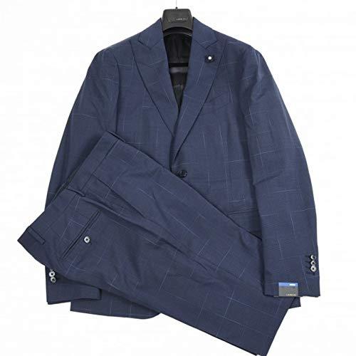 LARDINI (ラルディーニ) RICERCA スーツ メンズ 春夏 2つボタン シングル ウール ストレッチ チェック ネイビー 紺 L【並行輸入品】