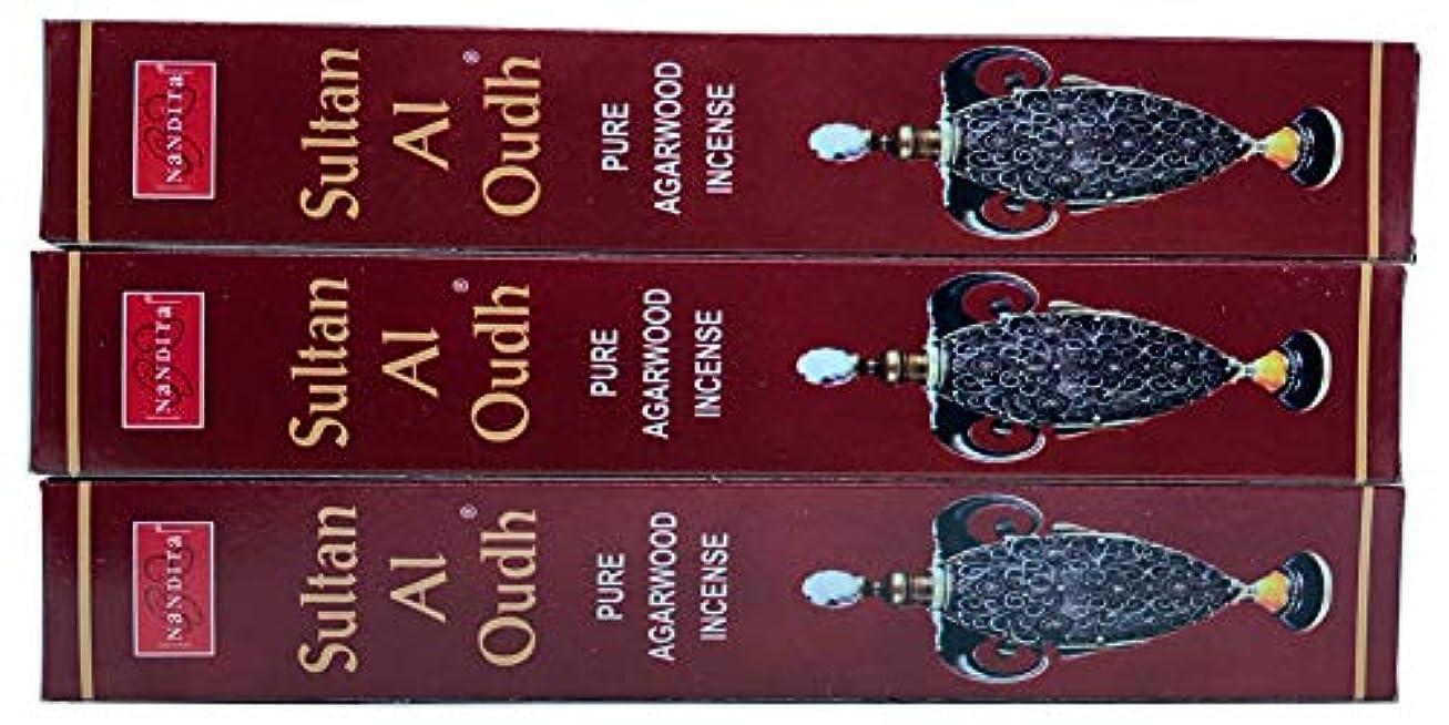 飾り羽乱れ感動するNandita Sultan AL OUDH 天然天然アガーウッド香スティック – 3本パック (各15グラム)
