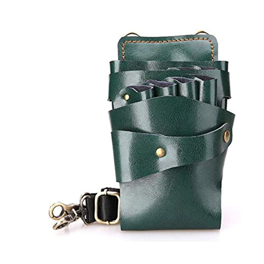 追い払う不正確輝くYWAWJ 優れたイタリア素材はプロフェッショナルサロン革シザーバッグ理髪ポーチ理容シザーの作品 (Color : Green)