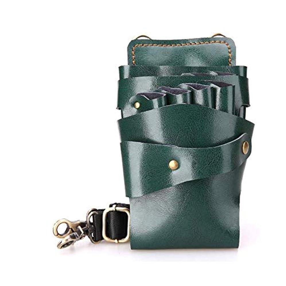 平方厚くする吸い込むYWAWJ 優れたイタリア素材はプロフェッショナルサロン革シザーバッグ理髪ポーチ理容シザーの作品 (Color : Green)