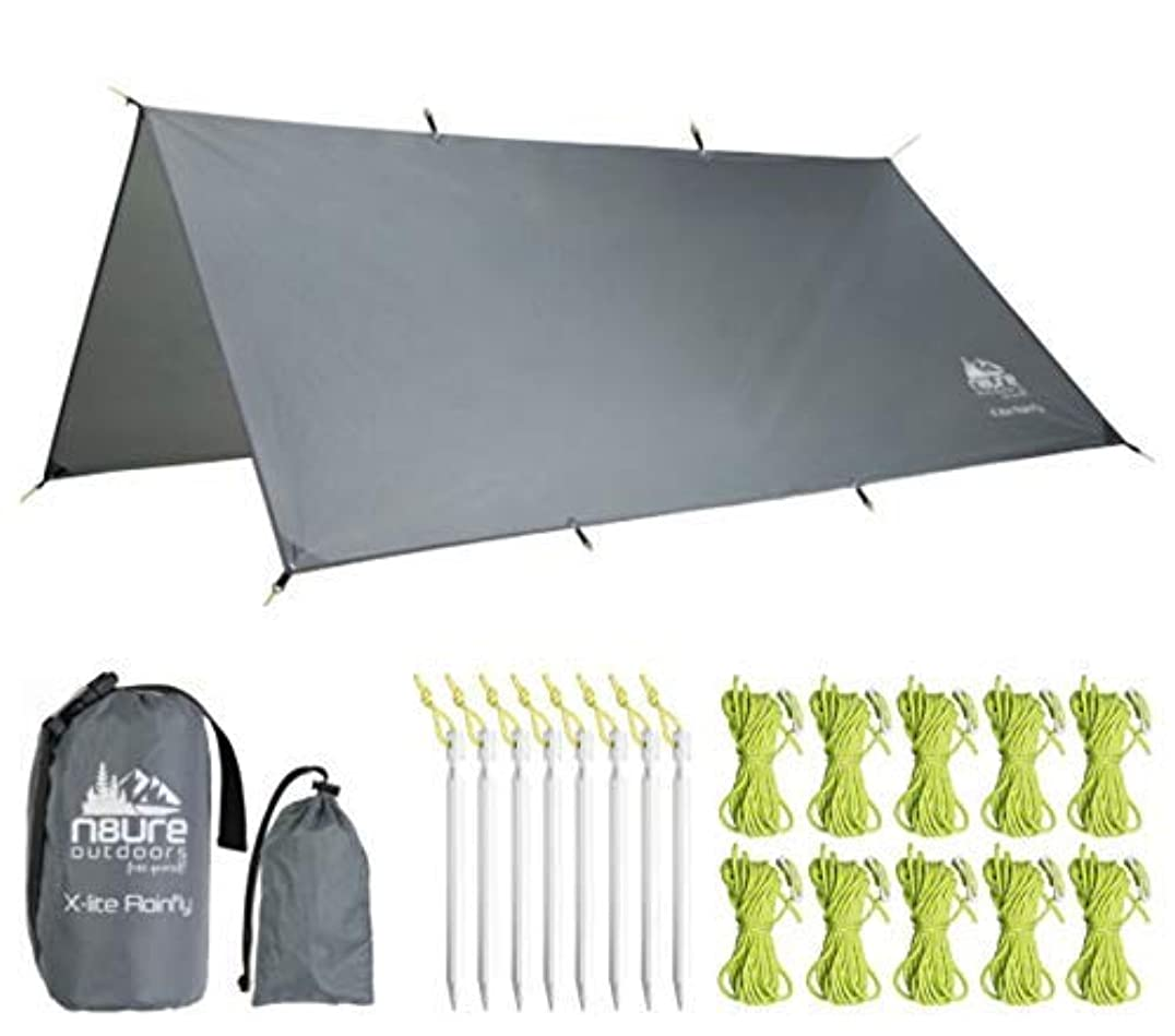 ダイヤモンド誘惑祈るHammock Rainfly Tarp Premium 10x10' Square Ultralight Ripstop Nylon Waterproof Outdoor Tent Camping Shelter Backpack Hike Travel Bushcraft Survival Gear Includes Stakes Ropes Stuff Sacks [並行輸入品]