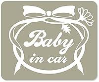 imoninn BABY in car ステッカー 【マグネットタイプ】 No.29 お花リボン (グレー色)