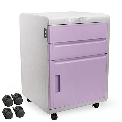 [パスワード自由設定型]防盗ベッドサイドテーブル ベッドサイドチェスト ナイトテーブル キャビネットFORTUNE DRAGON8キャスター付け3段紫
