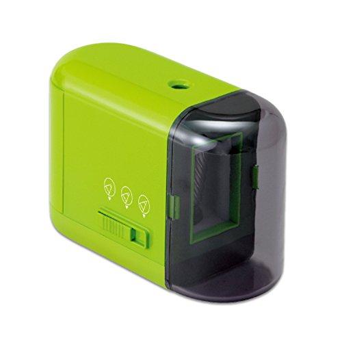 プラス 乾電池式鉛筆削り グリーン 84-030