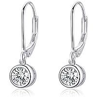 Dangle Drop CZ Diamond Sterling Silver Hoop Earrings for Women Girls Elegant Clear Crystal Studs Leverback Huggied Hoops Earring Cute Jewelry Gifts