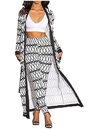 GodeyesW 女性のチェックボディコンパンツカーディガン花2ピース衣装