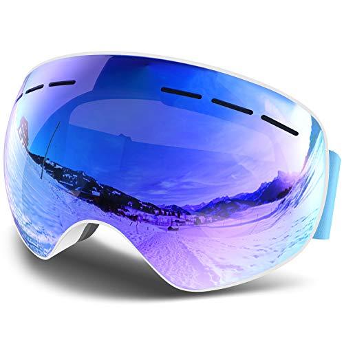 Eastshining 【2019最新版】スキーゴーグル スノーゴーグル ダブル球面レンズ 雪目防止 曇り止め 紫外線カット レンズ交換可能 フィット感・通気性抜群 メガネ対応 ヘルメット対応