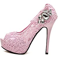 Fashion Wedding Heels, Ladies' Thick Lace High Heels (Color : Pink, Size : 40)
