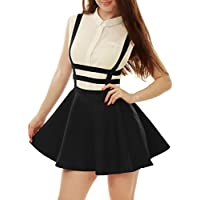 Allegra K Women's Pleated A-Line Elastic Waist Braces Mini Suspender Skirt