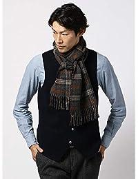 (ザ・スーツカンパニー) blazer's bank.com/チェック柄ウールマフラー/Fabric by MOON/グレー×オレンジ