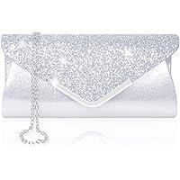 Women Evening Envelope Handbag Prom Sequin Clutch Purse Shoulder Cross Body Bag