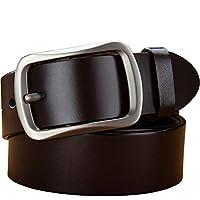 KAIZLIER MEI カジュアルレザーベルトスーツ ベルト メンズ ビジネス 男性用ジーンズ、幅3.8cm 通勤 通学 制服用 ベルト スーツ 紳士 (色 : コーヒー, サイズ : 110cm)